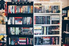 #shelfie It's only about 1/2 of my bookshelves; I now need a fourth one but can't decide to get a white or black one (I have two black and one white) or a regular shelf or a slimmer version of one (I have the billy bookcases from IKEA). Where do you guys get your shelves? Suggestions? Btw happy Sunday everyone