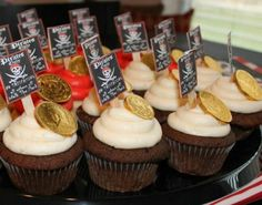 cupcake idea for lunch party - use pictures of Jake/Izzy/Cubby instead of pirate logo