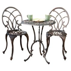 "JOSS + MAIN 3-Piece Albany Patio Bistro Set Cast Aluminum  Table Top::  Metal Table::   28""H   X   23.5""W   X   23.5""L Chair:: 35.75""H   X   15.75""W   X   15,75""D 55 lbs.  $128"