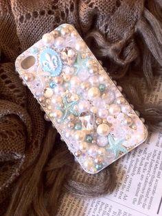 iPhone 4 4s 3D Blue Anchor Fleur De Lis Pearl Bling Cellphone Case