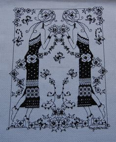 myszkowato: Blackwork lady - worked by Marta, using Lesley Teare's chart from our issue 166 - with the adaptation of including a reflection! WOW factor!
