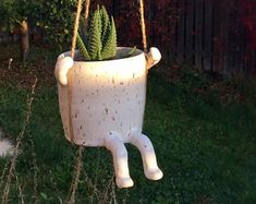 Sally the Swinging Pot, cactus pot, flower pot ,cactus planter, pottery , whimsical decor, hanging pot,Handmade ceramic hanging planter,