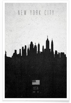 New York City Contemporary Cityscape as Premium Poster by Calm The Ham | JUNIQE