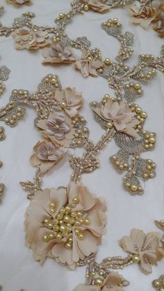 Gold lace fabric beaded luxury lace fabric hand by LaceToLove Lace To Love Lacetolove Tambour Beading, Tambour Embroidery, Couture Embroidery, Silk Ribbon Embroidery, Embroidery Applique, Embroidery Designs, Gold Lace Fabric, Fabric Flowers, Fabric Embellishment