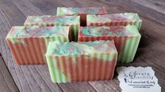 Strawberry Fields Soap. Real organic strawberry puree was used in this soap.  Cocoa butter is also the other star ingredient.  www.scentandsensibility.com or www.facebook.com / scentandsensibility