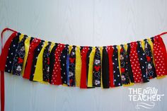 Fun red, yellow, black and Mickey fabric tie garland. The perfect touch for your MIckey Mouse Party. Just add my bunting to your party, and make your decorating really easy. Coordinates with any other party printables or decorations. Mickey Mouse Fabric, Mickey Mouse Crafts, Mickey Mouse Bday, Mickey Mouse Clubhouse Birthday Party, Mickey Mouse Parties, Minnie Birthday, Mickey Party, 2nd Birthday, Birthday Ideas