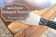 The easiest way to repair damaged veneer when painting furniture. Using Bondo to repair damaged veneer.