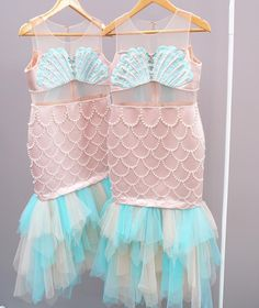 Mermaid dresses shell bras and scales Mermaid Costume Kids, Mermaid Outfit, Mermaid Diy, Mermaid Dresses, Girls Dresses, Mermaid Dress For Kids, Little Mermaid Birthday, Little Mermaid Parties, Mermaid Birthday Outfit