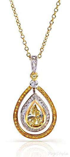 2 1/6 Carat Yellow Diamond in 18k Fancy Gold Necklace