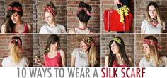 Tie the scarf onto a strand of your hair in the back. Braid your scarf into your hair and (if long enough) use the end to tie the braid securely. Ways To Wear A Scarf, How To Wear Scarves, Turbans, Scarf Hairstyles, Pretty Hairstyles, Hairstyle Ideas, Diy Fashion, Fashion Beauty, Vintage Fashion