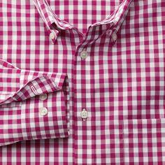 Raspberry gingham non-iron Classic fit shirt- XL
