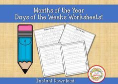 Tracing Worksheets, Days of the Week, Months of the Year, Printable, Penmanship, Calendar, Handwriting Tracing Learning Resources, Student Learning, Teacher Resources, Teaching Ideas, Learn To Spell, Learn To Count, Counting Activities, Sight Word Activities, Word Bingo