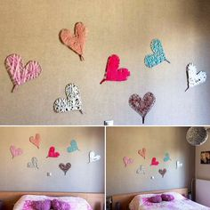 Handmade hearts with different fabrics & colors! I decorated with those my friends' bedroom !