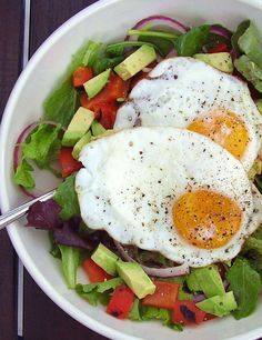 Salad for breakfast ... Need protein? Put an egg on it!