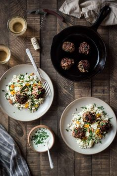 MOROCCAN LAMB MEATBALLS WITH CAULIFLOWER COUSCOUS