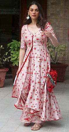Aditi Rao Hydari in a pastel pink designer sharara set paired with chunky silver earrings. Sharara Designs, Kurta Designs Women, Kurti Neck Designs, Kurti Designs Party Wear, Latest Anarkali Designs, Simple Kurti Designs, Stylish Dress Designs, Designs For Dresses, Stylish Dresses