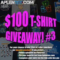 For your chance to win $100 of t-shirt or Amazon vouchers enter here: https://aplentee.com/competition/?rew=APL3PI