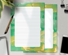 Letter Stationery, Korean Stationery, Cute Stationery, Writing Paper, Letter Writing, Stationary Set, Letter To Yourself, Minimalist Chic, Green Watercolor
