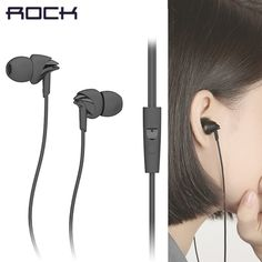 Rock earphone Y1 sport Stereo Headphones Headset 3.5mm In-Ear Earphone Earbuds for iphone Samsung in line control with Mic