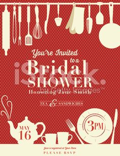 Retro Bridal Shower Invitation With Kitchen Gadgets royalty-free stock vector art
