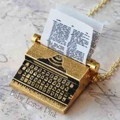 Typewriter Necklace - Gold plated Brass Miniature Vintage Type Writer from BabyLovesPink on Etsy. Saved to Jewelry. Key Necklace, Gold Necklace, Statement Necklaces, Hostess Cupcakes, Vintage Typewriters, Gold Plated Necklace, Xmas Gifts, Etsy Vintage, Plating