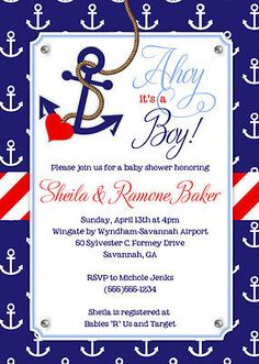 Ahoy it's a Boy Baby Boy Nautical Themed Baby by Whirlibird Baby Shower Niño, Shabby Chic Baby Shower, Baby Shower Themes, Shower Ideas, Sailor Baby Showers, Anchor Baby Showers, Babyshower, Printable Baby Shower Invitations, Nautical Theme