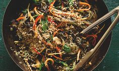 Japchae with mushrooms: a Korean dish of sweet potato noodles mixed with vegetables. Omit the oyster sauce to make it vegetarian – it works just as well without – and use tamari soy sauce if you want it to be gluten-free as well. Serves four, generously. (Yotam Ottolenghi: from udon and ramen to kishimen and soba, there's a noodle dish to suit every occasion)