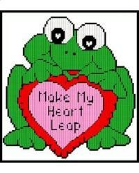 MAKE MY HEART LEAP by JODY 1/2 - FROG VALENTINES DAY WALL HANGING