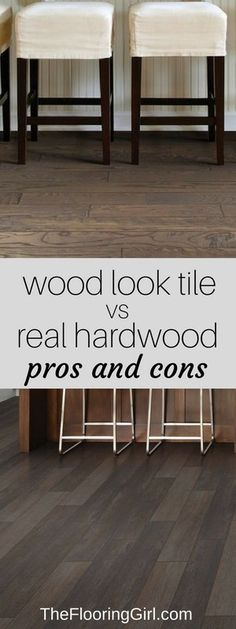 Wood look tiles vs real hardwood flooring. Pros and Cons. Tile planks that look like wood floors. Living Room Hardwood Floors, Hardwood Tile, Real Wood Floors, Wood Tile Floors, Wood Laminate, Kitchen Flooring, Dark Bamboo Flooring, Plywood Floors, Basement Flooring