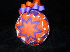 This is for the Clemson University Fans. All Clemson with the team colors, Purple and Orange. Topped with team spirited purple and orange ribbon hanger. Christmas Jesus, Christmas Crafts, Christmas Bulbs, Clemson Tiger Paw, Folded Fabric Ornaments, University, Sew, Purple, Holiday Decor