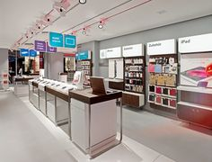Wonderful phone store interior designs: spacious vodafone office interior with great architecture design in best ideas Mobile Phone Shops, Mobile Shop, Shop Interiors, Office Interiors, Electronics Projects, Visual Merchandising, Retail Technology, Cell Phone Store, Electronic Shop