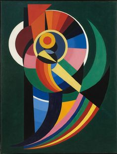 Composition, 1940. Auguste Herbin, français, 1882 - 1960. Huile sur toileessentially a fibonacci spiral employing contrasting colors to accomplish an optical receding/emerging illusion.