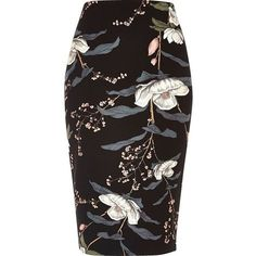 River Island Black floral print long length pencil skirt ($30) ❤ liked on Polyvore featuring skirts, bottoms, pencil skirts, saia, black, midi skirts, women, calf length skirts, midi skirt and floral midi skirts
