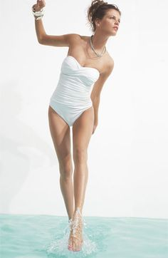 White bandeau one-piece swimsuit