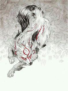 Pin by paden on okami Amazing Drawings, Amazing Art, Art Drawings, Awesome, Fox Illustration, Amaterasu, Japanese Art, Japanese Sleeve, Fox Art