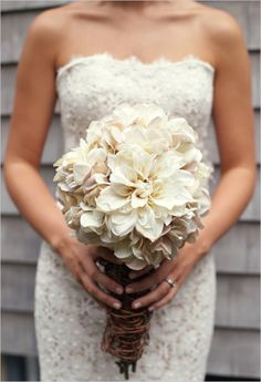 twine wrapped bouquet & lace dress
