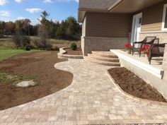 Beautiful Permacon Paleo Modular Walkway, Steps and Garden Wall to create stunnning entranceway in Perth, ON by Stonebridge Landscape Ltd. Home Exterior Makeover, Living Roofs, Backyard Patio Designs, Outdoor Living, Outdoor Decor, Landscaping Ideas, Building A House, Sidewalk, Roof Top