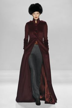 Russian-esque coat, blouse, and skinny trousers by Pamella Roland. I want this coat and hat (in animal-friendly faux fur, naturally) BAD!!!