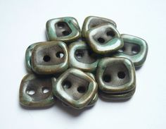 Earthy Square Ceramic buttons by buttonalia on Etsy, $24.00