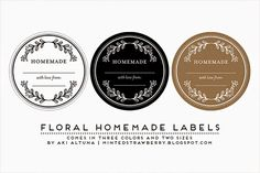 Free Printable Floral Mason Jar Labels - great for mason jar gift giving, wedding favors and such! @mintedstrawberry.blogspot.com #DIYfavor ...