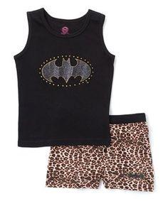 Batgirl Black & Leopard Tank Set - Girls