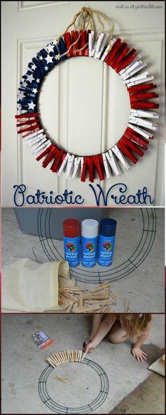 DIY Clothes Pins Patriotic Wreath - 30 DIY 4th of July Decorations - Patriotic DIY Fourth of July Decor Projects