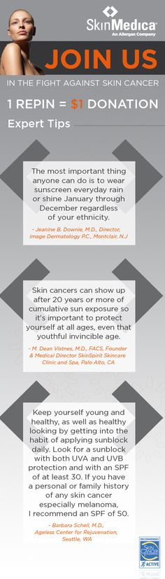 1 REPIN = $1 DONATION. Read and repin these expert tips and SkinMedica will donate $1 towards Skin Cancer Awareness efforts. #JoinSkinMedica