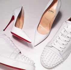 his: white louboutin sneakers with studded toes. hers: white patent louboutin so kates. #shoeporn