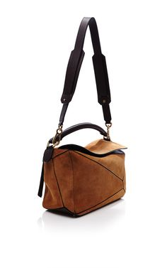 Small Puzzle Bag In Caramel Suede by Loewe for Preorder on Moda Operandi