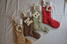 Wrapped burlap stocking letters- Christmas decorations- Personalized Letters