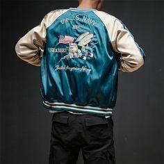 Buy Two Sides Luxury Embroidery Bomber Jacket Smooth Men Sukajan Yokosuka Souvenir Jacket Streetwear Hip Hop Baseball Jacket Streetwear Online Store, Streetwear Brands, Parka, Navy Bomber Jacket, Hoodie Jacket, Style Français, Hip Hop, Style Japonais, Japanese Street Fashion