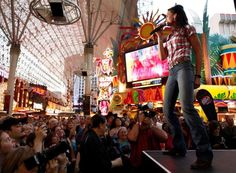 Joey Martin Feek, of the country music duo Joey & Rory, performs at the Fremont Street Experience during the Academy of Country Music Weekend in Las Vegas on Saturday, April 17, 2010.