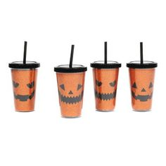 Even your drinkware should be festive! Glittery Jack-O-Lantern Sippers   Kirklands #kirklandshalloween #kirklands
