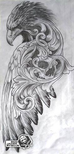 by PanJacekRysuje on DeviantArt tattoo tattoo tattoo design tattoo tattoo tattoo bird tattoo Eagle Tattoos, Skull Tattoos, Animal Tattoos, Body Art Tattoos, 3d Tattoos, Best Leg Tattoos, Belly Tattoos, Buddha Tattoos, Tattoo Design Drawings